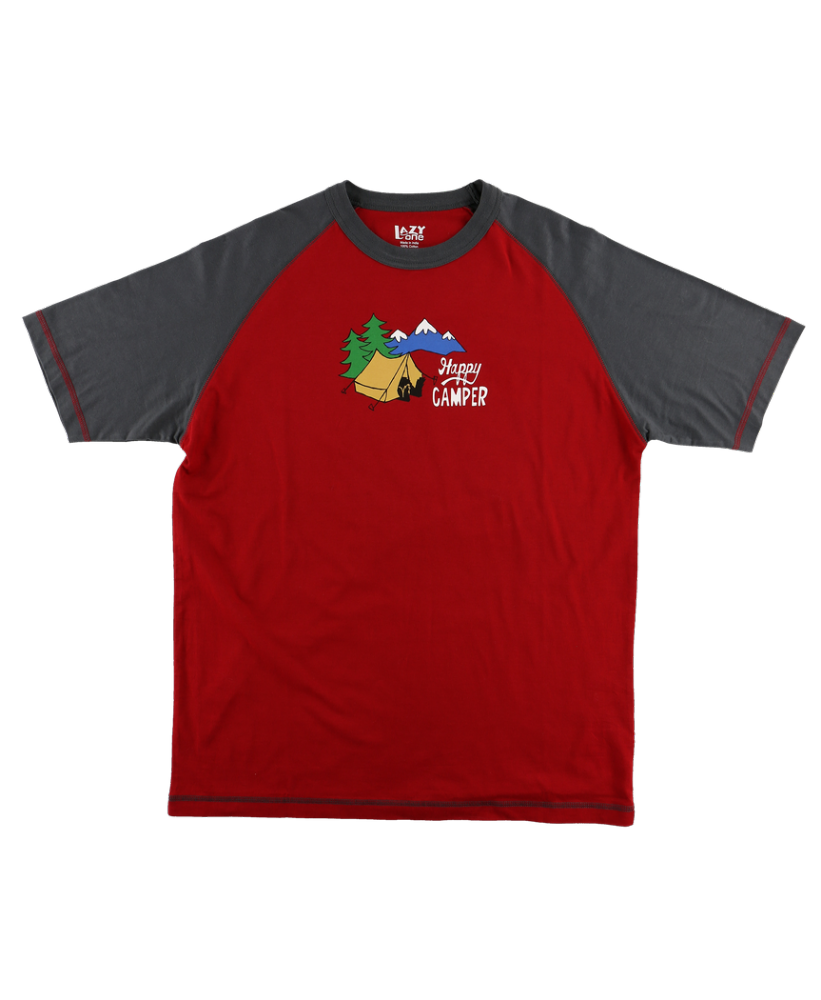 Men's Happy Camper PJ T-shirt - Lazy One® | Men's Bear Pyjamas